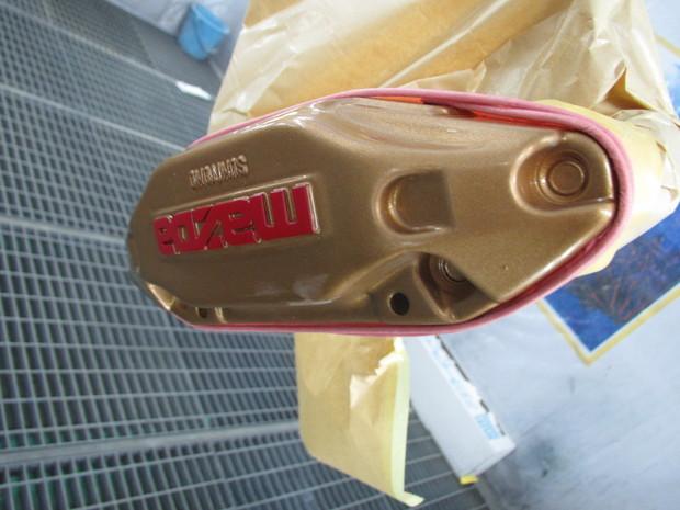 RX-7、キャリパー塗装(ブレンボゴールド) (10).JPG